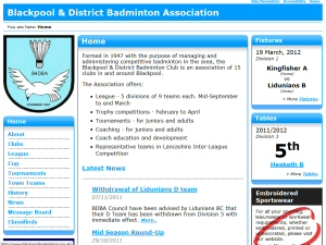 Photo - BaddersWeb is well specced with club, news, league, cup, tournament pages and more.
