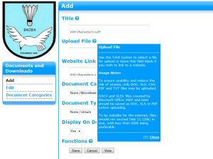 Photo - All input screens in the BaddersWeb admin back-end feature extensive on-line help.